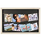 Kitchen & Housewares : HAB & GUT (FR030) Picture frame with 2 ropes and 8 metal clips, 50 x 33 cm collage, gallery, photo line