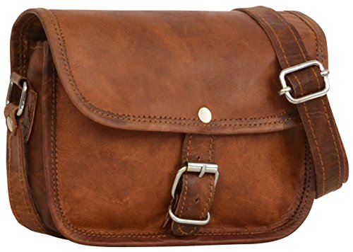 "- 51Zl4uTcygL - Gusti Leder nature ""Mary XS"" Genuine Leather Satchel Handbag Shoulder Cross-Body Bag Messenger Party Festival Everyday Handmade Vintage Unisex Brown H4"