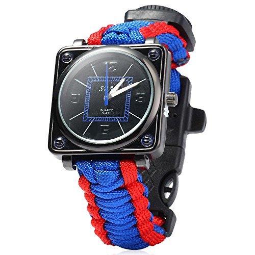 ival-Armband Fallschirmleine Outdoor Armbanduhr 6in 1Kit Flint Fire Starter Schnalle Whistle Kompass Schaber Band Notfall Rescue Armband für Wandern Camping Notfall, Red & Blue ()