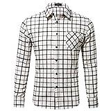 Xmiral Herren Bluse Art und Weise beiläufige Langarmhemd Taschen Lattice Bedruckte T-Shirt (S,C-Weiß)
