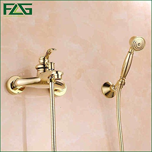 FLG Free Shipping Bathroom Bath Wall Mounted Hand Held Single Handle Brass Gold Plated Shower Head Kit Shower Faucet Sets HS029 -