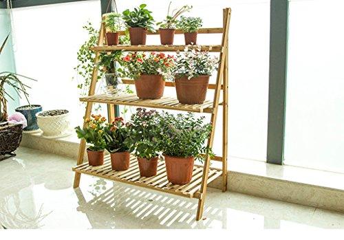 ZHDC® Phyllostachys Nudica Cadre de fleur pliante Balcon Salon Plateau de fleurs au sol Stable fort espace de sauvegarde