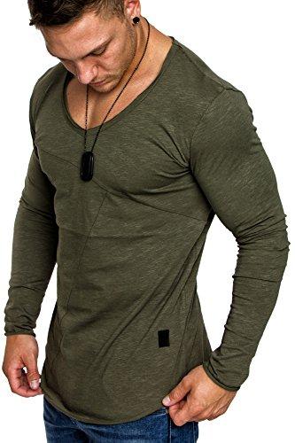V-neck Vintage Pullover (Amaci&Sons Oversize Herren Vintage Longsleeve V-Neck Basic Sweatshirt V-Ausschnitt Shirt 6061 Khaki S)