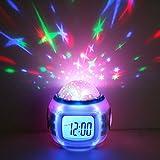 Decdeal LED Sternenhimmel Kinderwecker Kalender Thermometer Wecker mit Hübschen Klängen