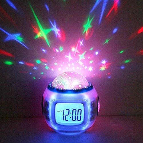 Decdeal LED Sternenhimmel Kinderwecker Kalender Thermometer Wecker mit Hübschen Klängen und Animiertem Sternenhimmel