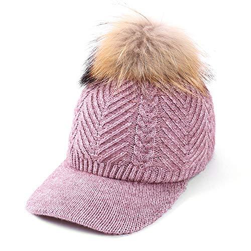 XuBa Schirmmütze Frauen gestrickte mit Mink Ball Modische einstellbare Winter warme Baseball Mütze -