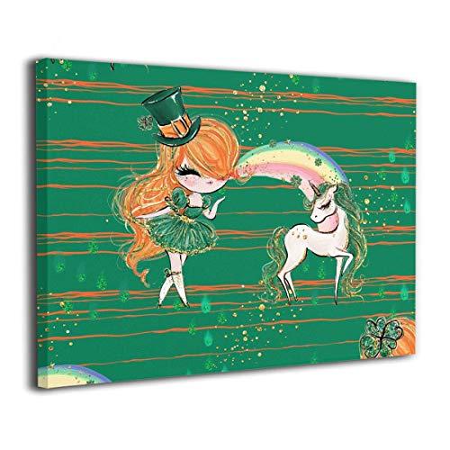 ZHAS Kunst Wandkunst Malerei St Patricks Day Einhorn Drucke Auf Leinwand Fertig Zum Aufhängen Für Zuhause Moderne Dekoration Druck Dekor Für Wohnzimmer 16 * 20 Zoll (St Patricks Kunst)