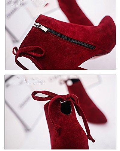 Dayiss Damen Ankel Boots Schuhe mit Blockabsatz seitlichem Reißverschluss Nubuleder Stiefeletten Kurzschaft Stiefel Rot