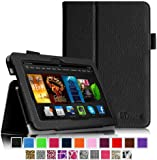 """Fintie Amazon Kindle Fire HDX 7 Folio Case - Slim Fit Folio Premium Vegan Leather Stand Cover with Auto Sleep/Wake for Kindle Fire HDX 7"""" (3rd generation - 2013 release), Black"""
