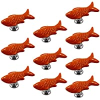 PsmGoods® Europe Style Ceramic Fish Door Drawer Knobs Vintage for