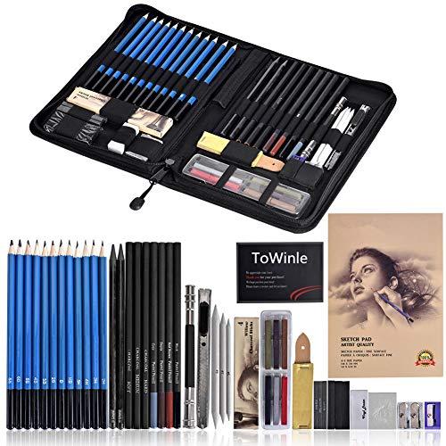 Towinle Bleistift Set 48-teilige Skizzieren Zeichnen Stifte Bleistifte zum Skizzieren und Zeichnen Professional Skizzierstifte Set mit Graphitkohlestifte (Skizzieren Bleistifte)
