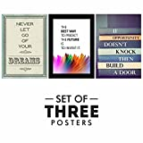 Paper Plane Design Motivational/Inspirational Quotes Posters - Set of 3, Size 12 x 18 Inch