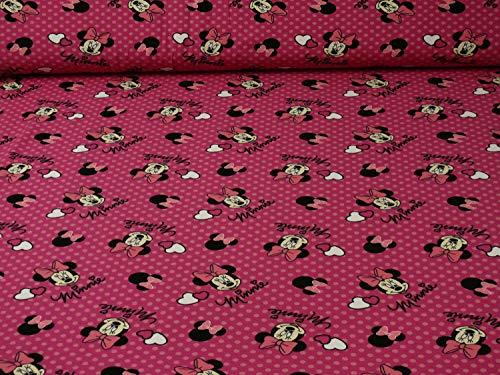 Fitzibiz Disney Jersey Minnie Maus, Öko-Tex Standard 100, pink, (Meterware ab 25cm x 160cm) (Stoff Mickey Minnie Und)