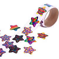 Star Stickers, 5 Rolls Rainbow Novely Paper Stickers Labels, Packaging Seals Crafts Wedding Favor Tag Labels,100Pcs Per Roll for Kids Party Favor,Creative Scrapbooks, Game Prizes,Girly Gift