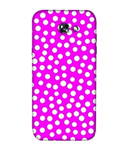 PrintVisa Designer Back Case Cover for Samsung A7 (2017) (Pink With White Dotted Design)