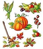dpr. Herbst Fensterbild Set 7-teilig Herbstfrüchte Blätter Besen Kürbis statisch selbsthaftend Fenstersticker Aufkleber Fensterdekoration Herbstdekoration