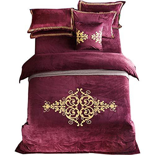 Jacquard Winter Flanell Duvet Cover-Set,Cover für solid Color Quilt Warme bettwäsche-Set Weiche 4-teiliges Set Vollständige König-rot Full Size - Baumwoll-jacquard-könig-duvet