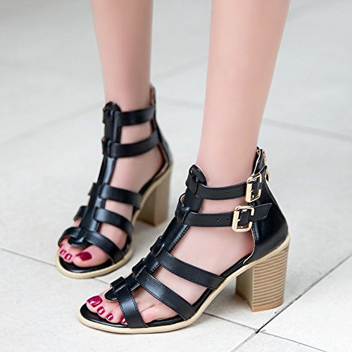TAOFFEN Femme Mode Sandales Courroie En T Bout Ouvert Chaussures Bloc Avec Fermeture Eclair Noir