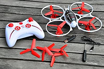 The Syma X3 Quadcopter Mini — The Next Generation in RC Aerobatics — Flip & Roll Stunt Action — Built-In Gyro for Hawk-Like Hover Capability — Full Spectrum of 3D Precision Movement & 360 Degree Turns — The Syma X3 Quadcopter — 4 Channel 2.4GHz — Ready to