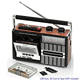 Ricatech R-PR85-UK 80's Tape Recorder - Cassette Player - MW/SW & FM Radio - MP3 Play-back (SD Card & USB Stick) - Microphone Recording to Tape (Mains Electric or Battery) - UK Plug Model (Package 1)