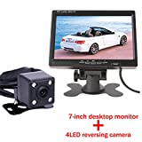 HD 7-Zoll-Auto-Monitor Multifunktionale 800 * 480 Helle Farbe AUX In DC12V-24V Schnittstelle TFT LCD VGA Auto Sichern Rückansicht Monitor mit Mini LED Auto CCD Rückfahrkamera Video Parksensor-System