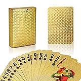 joyoldelf Lujo 24K Hoja de Oro Poker Naipes Cubierta Carta de Baralho con Idea Box Buen Regalo (Dorado)