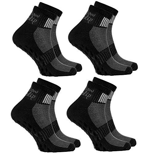 4 paires de Chaussettes Noir Antidérapantes ABS Idéal pour les Sports: Yoga, Fitness, Pilates, Arts Martiaux, Danse, Gymnastique, Trampoline Tailles 44-46, le Coton Respirant, Confort pour les pieds