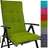 PROHEIM Hochlehner Auflage Outdoor 118 x 50 x 5,5 cm Schmutz- und wasserabweisendes Sitzkissen & Rückenkissen bequem gepolsterte Gartenstuhlauflage mit Gummiband, Farbe:Apfelgrün