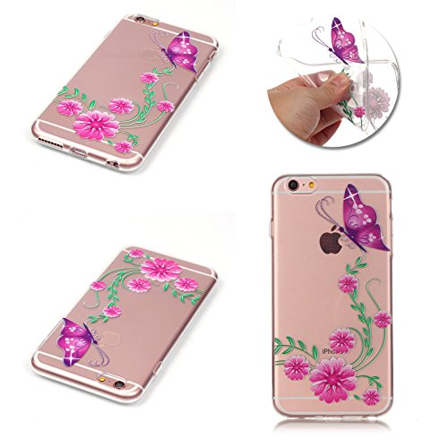 Apple iPhone 7 Schutzhülle, MyGadz® Hülle mit Muster, Handy Case Cover Schutz Tasche für iPhone 7 ultra-slim, Bunt Retro Druck Motiv - Dreamcatcher Schmetterling mit Blume