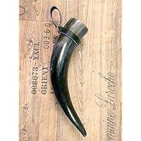 1 Trinkhorn Ansgar m.Halter, ca.0,4L/25-35 cm, versiegelt/poliert-für Met-Wikinger-LARP- Mittelalter-Drinking Horn-Methorn, ideales Weihnachtsgeschenk, ein Geschenk für Wikinger