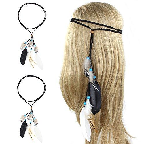 der Indisch 2 Stk Boho Happie Stirnband Einstellbar Damen Haarschmuck Seil Troddel Hairband Kopfschmuck Mädchen Frauen Haar Zusatz für Karneval, Fasching (Indische Stammes Kostüme)