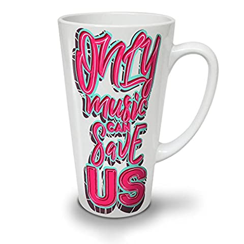 Only Sound Can Save Music White Ceramic Latte Mug 17 oz | Wellcoda
