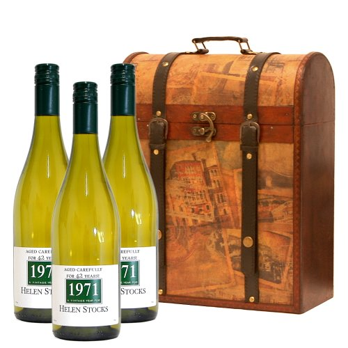 Personalised 3 x Bottles 750ml Fine White Wine in Wooden Vintage Wine Chest Hamper - Gift Ideas for Birthday, Wedding, Anniversary and Corporate