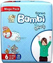 Sanita Bambi Baby Diapers Mega Pack Size 6, XX-Large, 16+ KG, 52 Count