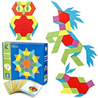 Coogam 130 Pcs Wooden Pattern Blocks Set Geometric Manipulative Shape Puzzle - Graphical Early Educational Montessori Tangram Toys Brain Teasers STEM Gift for Kids with 24 Pcs Design Cards