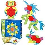 Coogam 130 PCS Pattern in Legno Blocchi Set Forma Geometrica manipolativa Puzzle - Grafica precoce educativo Montessori Tangram Toys Rompicapo Regalo STEM per Bambini con 24 Carte Design PCS