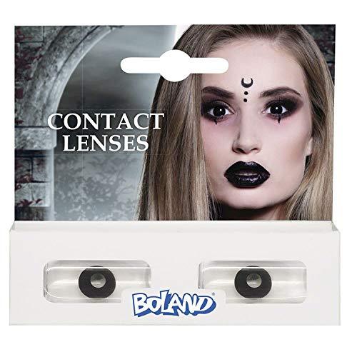 Boland Farbige Kontaktlinsen für 3 Monate, Hexe, schwarz, Ohne Sehstärke, Monatslinsen, 2 Stück