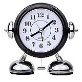 Sveglia Classica-Sveglia Analogica Doppia Campana Sveglia con luce Notturna, Sveglia Sveglia Campana Retrò, Sveglia Forte, Azionamento al Quarzo, Senza Ticchettio Silenzioso, 10 * 13 cm - Nero