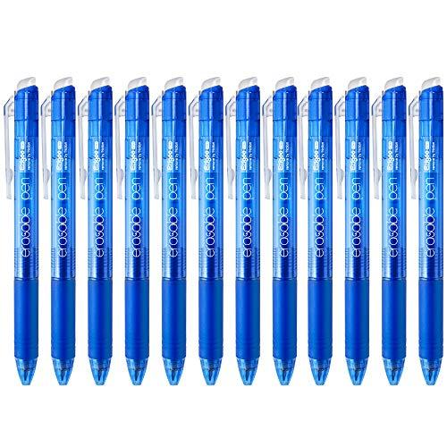 Ezigoo Kugelschreiber Radierbar Blau - Tintenroller mit einziehbarer 0,7mm Mine (Set mit 12 Stiften) - 9BL808