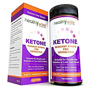 HealthyWiser Ketone Test Strips 150ct + Alkaline Food Chart PDF, Professional Grade Ketone Strips for Use in Atkins Diet, Ketogenic Diet, and Paleo Diet, Urinalysis Test Strips 99% Accuracy