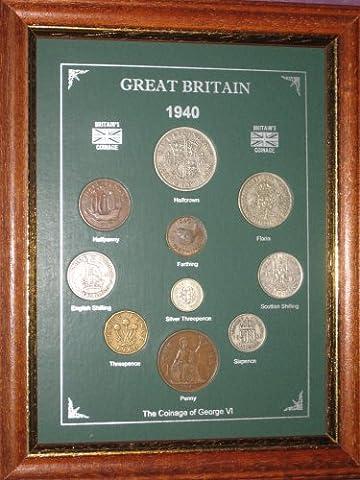 Framed 1940 GB Great Britain British Coin Birth Year Vintage Retro Gift Set (77th Birthday Present or Wedding Anniversary)