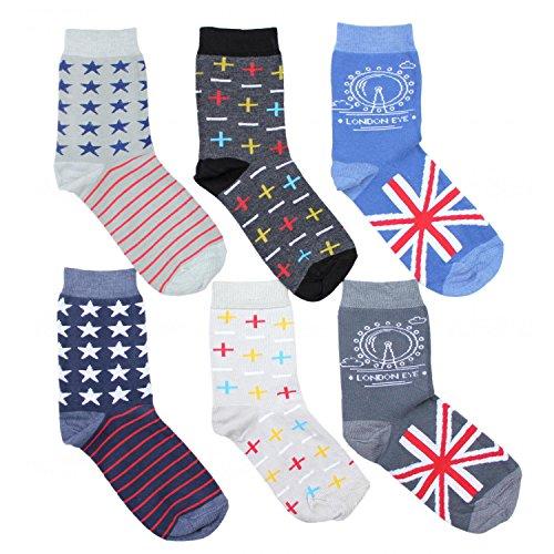 TupTam Unisex Kinder Socken Bunt Gemustert 6er Pack, Farbe: Junge 6, Größe: 35-38