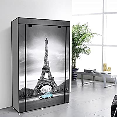 EBS Non Woven Canvas Wardrobe Closet Cupboard Clothes Storage with Haning Rail + Shelves - Eiffel Tower - low-cost UK light shop.