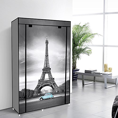 EBS® Tragbare Non Woven Canvas Stoff Kleiderschrank Faltschrank /Lagerung 5 Regale – Eiffelturm 105 x 45 x 158 cm