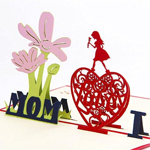 miglior regalo per il compleanno della mamma Deesos carta del pap/à,Biglietto dauguri per mamma speciale biglietto dauguri pop-up 3D con bella carta tagliata busta inclusa