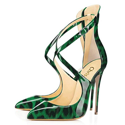 (Chris-T Damen Spitz Crochet Riemchen High Heels Stiletto Pumps Damen Knöchelriemen Party Kleid Schuhe)