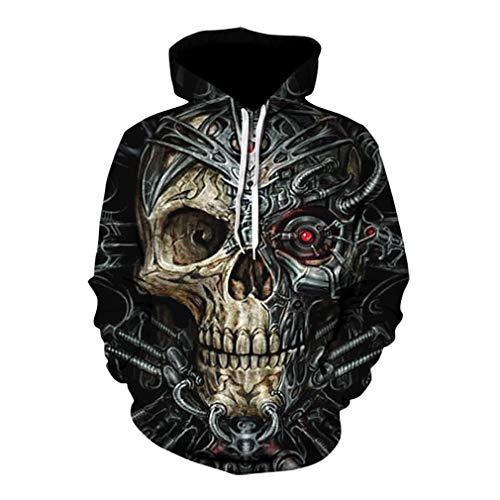 Sudaderas con Capucha para Hombre Estampada 3D de Horrible Cráneo Hoodie Suelto Halloween Huesos Impresión Hooded Pullove Invierno Gótico Fantasma Hoodie Sweatshirt