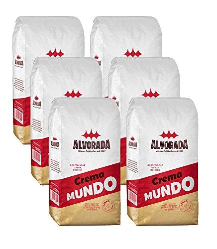 Alvorada, ganze Bohne, Crema Mundo, 6 x 1kg Vorratspackung (Kaffeebohnen Wien, Ganze Bohne)