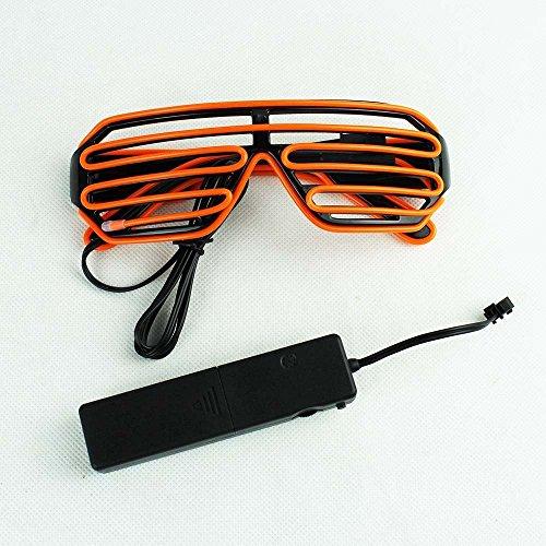 on, Motiv: Sonnenbrille, Neon, LED, mit Sprachsteuerung, für Weihnachten, Kostüme, Bars, Geburtstage, Halloween, Partys arancione (Halloween Getriebe)