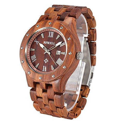 Orologio in legno collezione naturale Sandalo legno orologio con scatola regalo, Regalo di San Valentino, Orologio Data Display Orologio BEWELL W109A Stilista Maschile